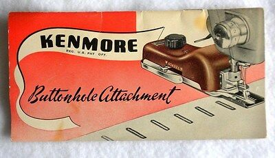 Vintage Kenmore Buttonhole Attachment Manual / Directions / Book