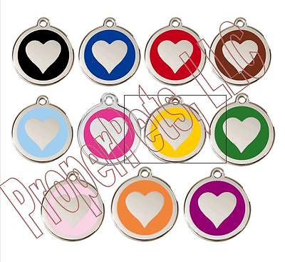 Red Dingo Solid HEART Engraved Dog ID Pet Tag/Charm BEST PET TAGS Guaranteed