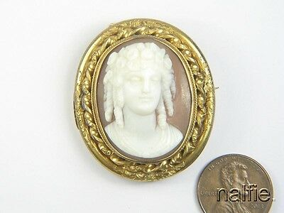 ANTIQUE LATE VICTORIAN PINCHBECK CARVED SHELL FLORA ? CAMEO BROOCH c1880