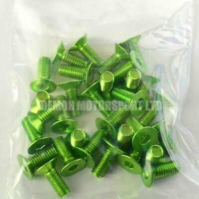 "(30 Pack) M6 x 10mm ""Clearance"" Countersunk Alloy Bolts Anodised Pin (Green)"