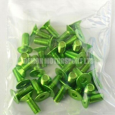 "(30 Pack) M6 x 15mm ""Clearance"" Countersunk Alloy Bolts Anodised Pin (Green)"