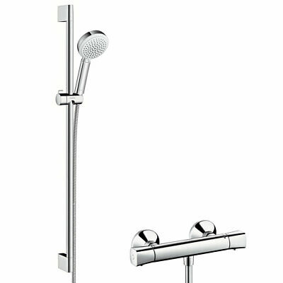 hansgrohe duscharmatur set croma 100 multi mit thermostat duschsystem brause eur 139 00. Black Bedroom Furniture Sets. Home Design Ideas