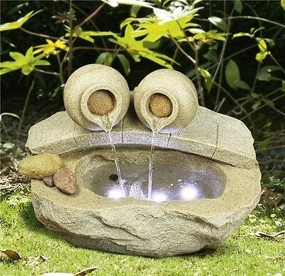 Sahara Stone Garden Rock Pool Water Feature with LED Lights