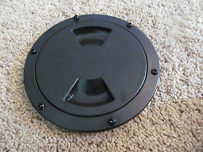 """Viking Marine Boat RV BLACK 5"""" Access Hatch Cover Twist Out Deck Plate Screws"""