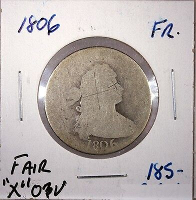 Raw 1806 Draped Bust Silver Quarter 25C Circulated Uncertified Ungraded Coin