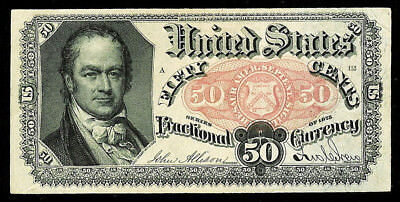 1874-1876 50 Cents Fractional William H. Crawford Note Fr 1381 Au - Cu Condition