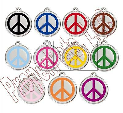 Red Dingo PEACE SYMBOL Engraved Dog ID Pet Tag/Charm BEST PET TAGS Guaranteed