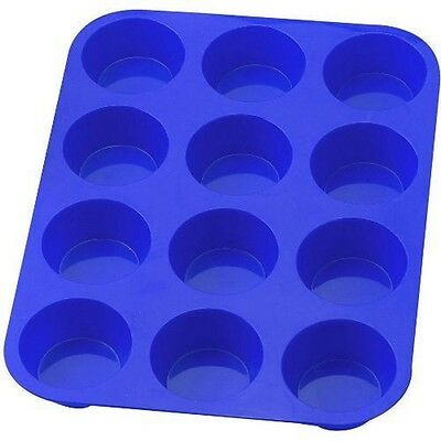 12 Cup Silicon / Silicone Muffin Tray Cupcake Cake Cases moulds different colors