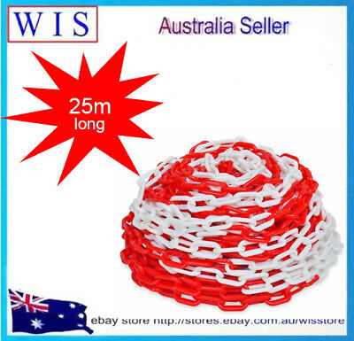 Wht/Red Plastic Safety Chain 6mm x 25 meter roll,Plastic Barrier Chain-46406