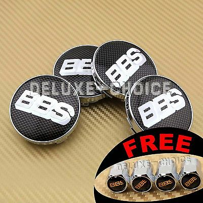 Black Silver Carbon Fiber Car Wheel Center Cap Hub Emblem Badge Logo 60Mm Bbs