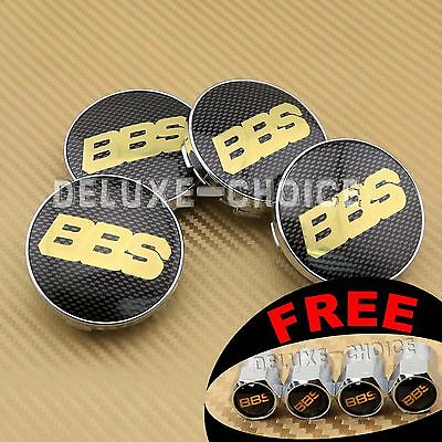 BLACK GOLD CARBON FIBER CAR WHEEL CENTER CAP HUB EMBLEM BADGE LOGO 60MM for BBS