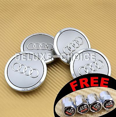 4 Silver Car Alloy Wheel Center Hub Cap Emblem Badge Logo 69mm AUDI 4B0601170A