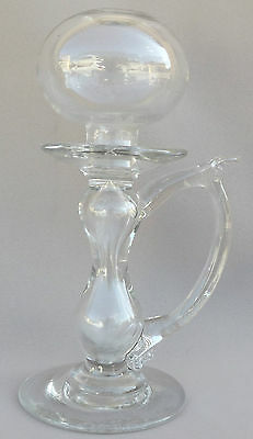 Antique French Provençal Blown Glass Lace Oil Lamp 18th.c