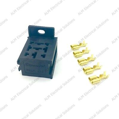 Relay Base/Holder & Terminals x 2 - Suit 4/5 Pin Relays With Mounting Bracket