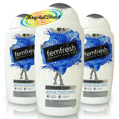 3x Femfresh Ultimate Care Intimate Hygiene Cleans Fresh Shower Wash 250ml