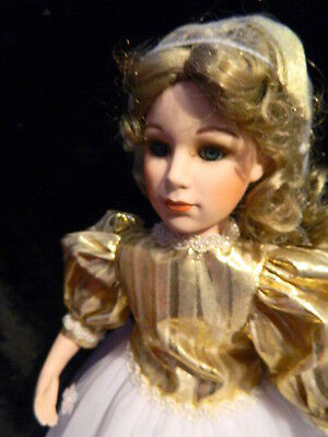 "Colleen"" Porcelain Doll 19"" Morgan Brittany - Ballerina 1995 Gold & White"