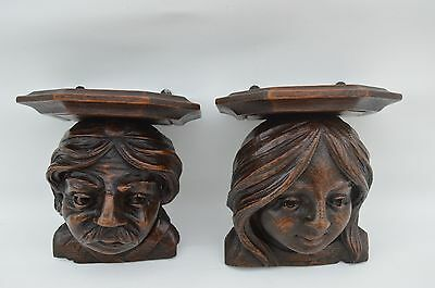 17thc French RARE Hand Carved Renaissance Gothic Statue Console Pair of Shelf