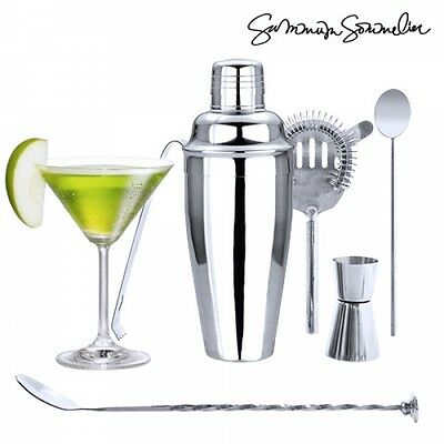 Set 6 Pezzi Accessori Acciaio Per Barman Cocktail Shaker Pestello Bibite