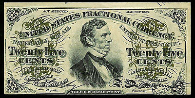 1864-1869 Usa 25 Cents Fractional Currency Fessenden Note Fr 1295 About Unc.