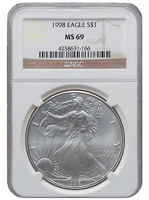 1998 MS69 1oz American Silver Eagle Brown Label NGC