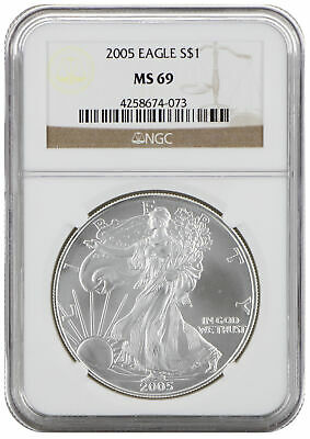 2005 MS69 1oz American Silver Eagle Brown Label NGC