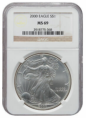 2000 MS69 1oz American Silver Eagle Brown Label NGC