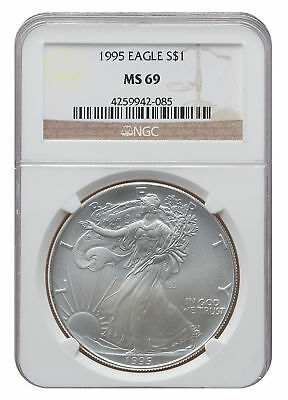 1995 MS69 1oz American Silver Eagle Brown Label NGC