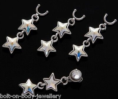AB Iridescent C.Z. Double Star Dermal Dangle for concave Anchor Head