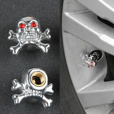 "Cool Universal Car Truck Bike ""Skull"" Tire air Valve Stem Caps Wheel Rims SG"