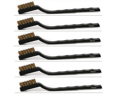 6pcs Mini Brass Bristle Wire Toothbrush Brush for Jewelry Polishing 17*3.3*1.2cm