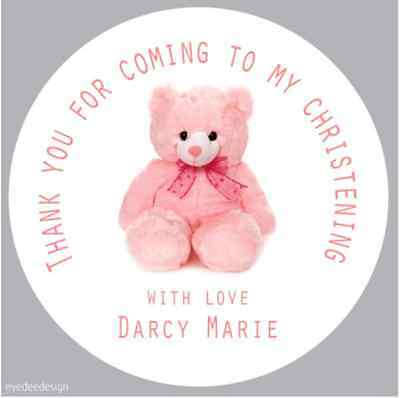 Personalised Pink Christening Party Thank You Envelope Seals Stickers Baby - 242
