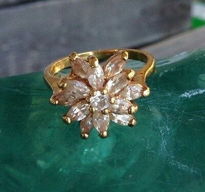 Vintage Clear Rhinestone Cluster Gold Cocktail Ring Size 7