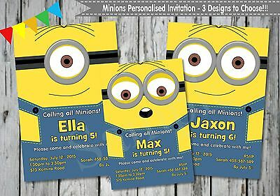 PERSONALISED MINIONS BIRTHDAY Party Invitation