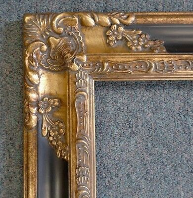 Picture Frame-12x16 Vintage Antique Style Baroque Dark Gold/Black Ornate 1238