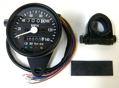 "2.4"" Mechanical 2:1 Mini Speedo Speedometer Black Housing Black Face Harley"