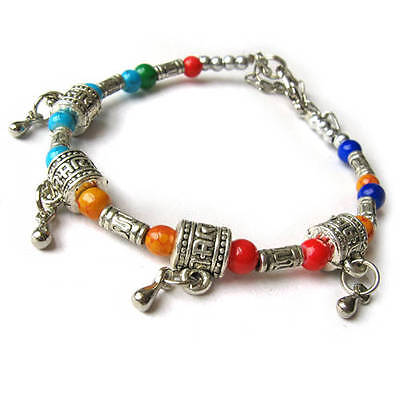 to do Beautiful Tibetan Silver Colorful 4 Prayer Wheel Beaded Amulet Bracelet