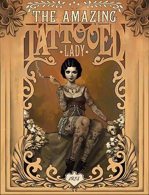 THE AMAZING TOTTOOED LADY VINTAGE POSTER (61x91cm)  PICTURE PRINT NEW ART