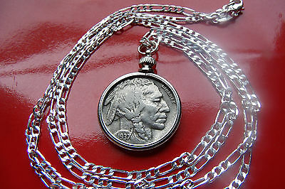 American 1937 Buffalo Nickel Indian Head Pendant on a 925 Sterling Silver Chain