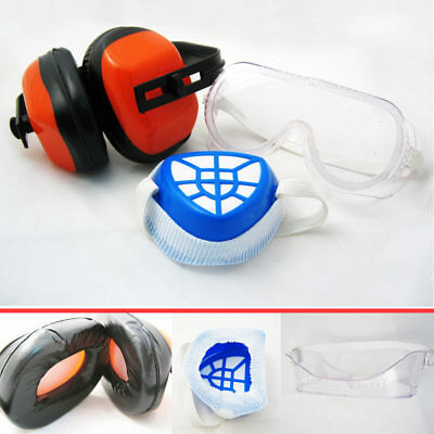 3pc Protection Kit Anti Dust Filter Face Mask Ear Muff Safety Goggles Glasses !