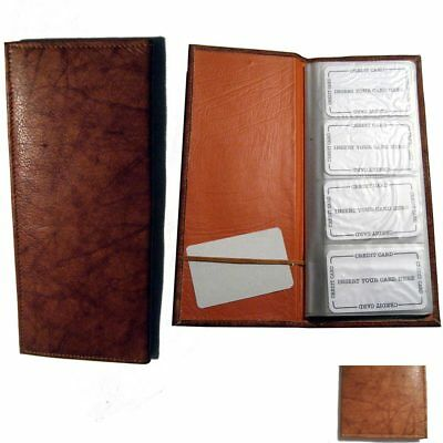 Genuine Leather Business 160 Card Holder Organizer Case Wallet Book Office Tan !