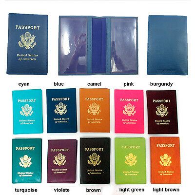 1 Genuine Leather Usa Passport Cover Holder Wallet Case Travel 11 Colors New