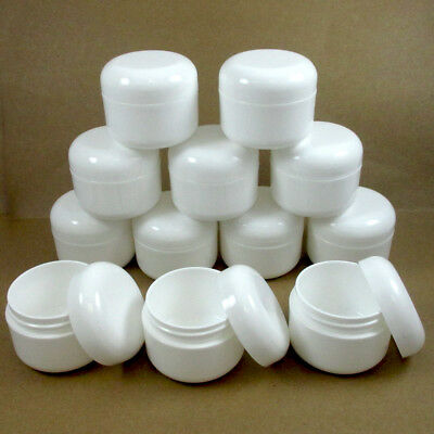 12 WHITE 1.7 oz Plastic Cosmetic Double Wall Cream Empty Dome Jar Containers Cap