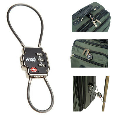 Lewis N Clark TSA Triple Security Lock Double Cable Combination Luggage Travel !