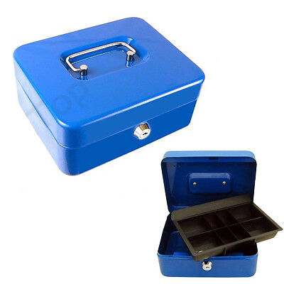 Metal Cash Money Box Lock Locking Bank Steel Safe Key Security Compartments Tray
