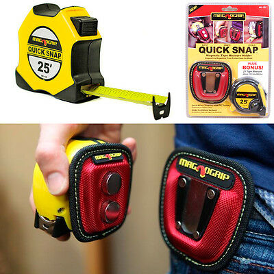 Magnogrip Quick Snap Magnetic Tape Measure Holder Plus 25FT Tape Measure New !