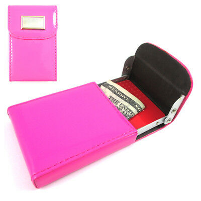 New Hot Pink Business Card Holder ID Credit Case Wallet Women Bag Case Lady !