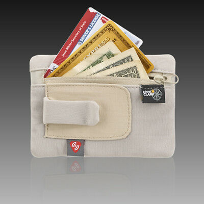 RFID Clip On Stash Pouch Wallet Travel Safe Security Id Holder Lewis N Clark Tan