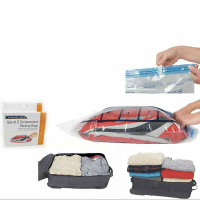 Travel Compression Bags x 2 Packing Clear Travelon Roll Up Storage Space Saver