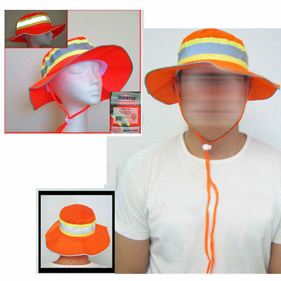 Booney Hat Orange Silver Reflective Tape Gear Safety Construction Sun Fishing XL