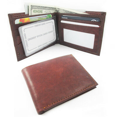 Rfid Blocking Genuine Leather Mens Bifold Wallet Credit Card Id Slots Holder New